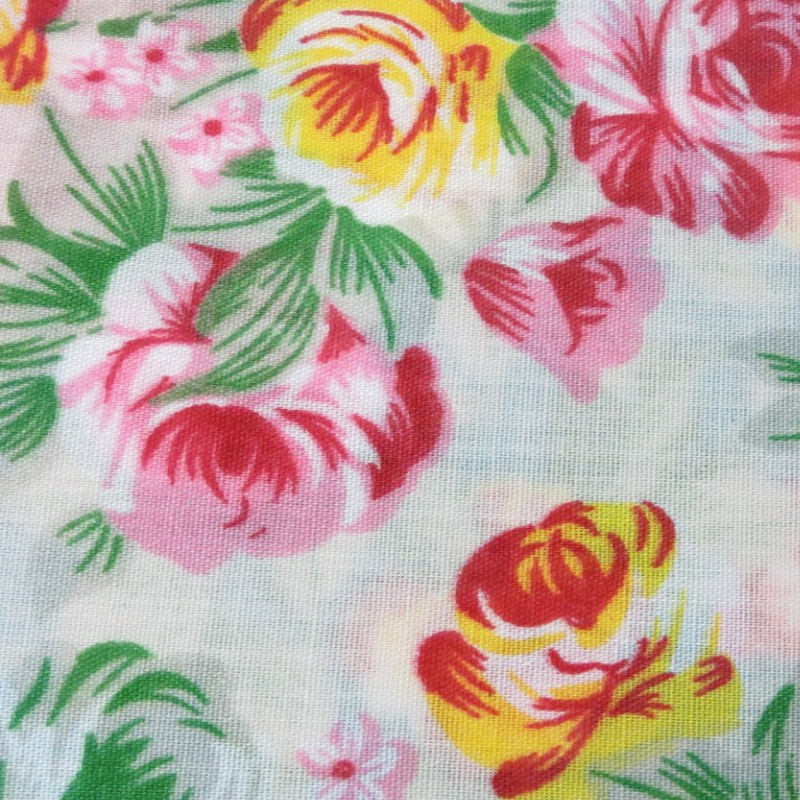 Cream Vintage Floral Polycotton Prints - Epra